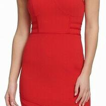 Guess Women's Dress Deep Red Size 2 Sheath Bodycon Asymmetric Hem Mini 98 179 Photo