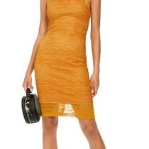 Guess Women's Dress Mustard Yellow Size 2 Sheath Halter Lace Stripe 118- 018 Photo