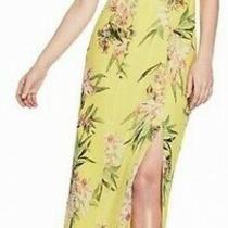 Guess Women's Dress Neon Yellow Size 6 Maxi Floral Flutter Sleeve 89 505 Photo