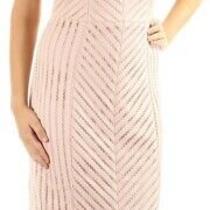 Guess Women's Dress Pink Size 8 Sheath v-Neck Striped Crochet Slit 148 900 Photo