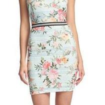 Guess Women's Dress Powder Blue Size 8 Sheath Floral Print Lace 118 052 Photo