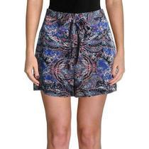 Guess Women's Dress Shorts Blue Size Xs Perfect Paisley Side Zip Belt 128 740 Photo