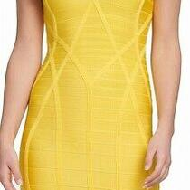 Guess Women's Dress Solid Yellow Size Xl v-Neck Bandage Bodycon 148 116 Photo