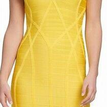 Guess Women's Dress Solid Yellow Size Xxl v-Neck Bandage Bodycon 148 080 Photo