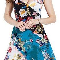 Guess Women's Dress Teal Blue Size 8 a-Line Floral Colorblock Tank 108 468 Photo