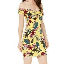 Guess Women's Dress Yellow Size Xs Sheath Floral Print Off Shoulder 79 333 Photo