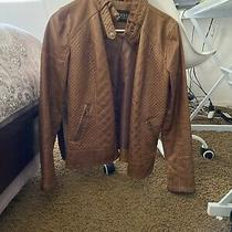Guess Womens Faux Brown Leather Coat Jacket Moto Style Size Medium Lined Photo