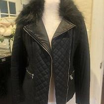 Guess Women's Faux-Fur Leather Moto Jacket Size M Photo