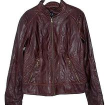 Guess Women's Faux Leather Burgundy Moto Jacket Size Large Nwt Photo