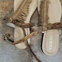 Guess Women's Flat Strappy Fringe Beige Sandals Size 8.5 Photo