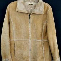 Guess Women's Genuine Leather Jacket Beige Full Zip Coat Sz M Winter Casual Photo