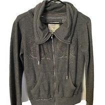 Guess Womens Grey Zip-Up Sweatshirt With Bling Rhinestones Size Small Photo