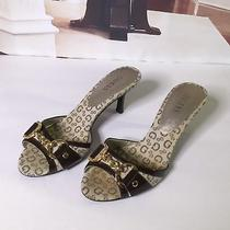 Guess Womens Heels Peep Toe Slides Slip on Shoes Size - 6m Dark Brown & Gold Photo