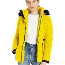 Guess Women's Hooded Quilted Puffer Jacket With Removable Yellow Size X-Large Photo