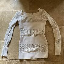 Guess Women's Ivory Open Knit Long Sleeve Sweater With Gold Threading Size Xs Photo