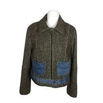 Guess Womens Jacket Size Xl Wool Blend Coat Denim Pockets Brown Stylish Vtg Photo