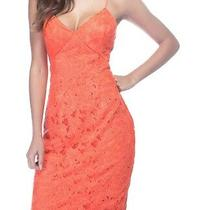 Guess Women's Jillian Dress Coral Orange Size 8 Sheath Lace Tank 109 291 Photo