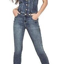 Guess Women's Jumpsuit Blue Size Xs Denim Button Front Skinny Leg 128 470 Photo