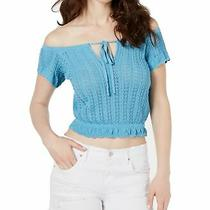 Guess Women's Knit Top Blue Size Xl Off-Shoulder Pointelle Cropped 59 161 Photo