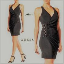 Guess Women's Lace-Up Ruched Bodycon Dress (Size 2) Photo