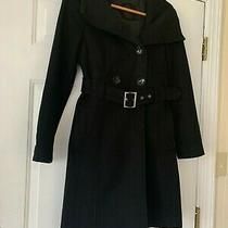 Guess Women's Ladies Wool Blend Double Breasted Black Buckle Belted Coat Size M Photo