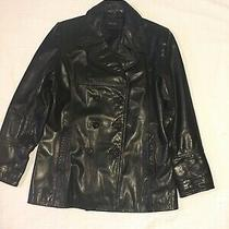 Guess Women's Leather Jacket Size Large L Black Lined Photo
