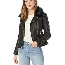 Guess Women's Leather Moto Jacket With Removable F - Choose Sz/color Photo