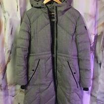Guess Women's Long Puffer Jacket - Light Gray Outer Black Fleece Lining- Size L Photo
