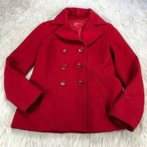 Guess Women's M Red Wool Blend Double Breasted Pea Coat Photo