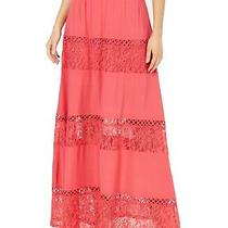 Guess Women's Maxi Skirt Pink Size Large L Lace Inset Crochet Trim 148 262 Photo