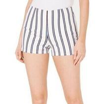 Guess Women's Mini Shorts White Size 0 Striped Shimmer High Waist 69 464 Photo
