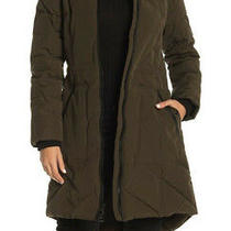 Guess Women's Mixed-Media Faux Fur Trim Hooded Puffer Parka Coat in Olive Size M Photo