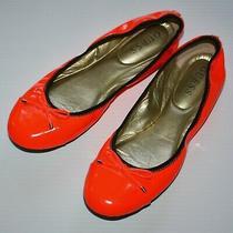 Guess Women's Neon Orange Patent Ballet Flats Shoes Size Us 8.5 Photo