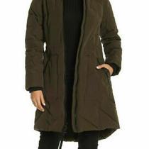 Guess Women's Puffer Parka Coat Faux Fur-Trimmed Hood Olive Black Nwt 260 Xs Photo
