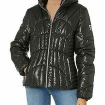 Guess Women's Quilted Metallic Cire Puffer Jacket Black Medium  Photo
