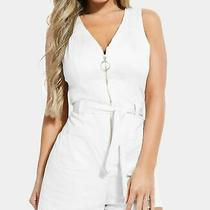 Guess Women's Romper White Size Xs O Ring Zip Front Belted Sleeveless 98 578 Photo