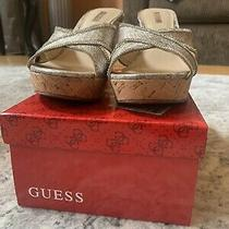 Guess Women's Sandals Wedge Slip on Cork Rhinestones Snake Print Gweleonora 8m Photo