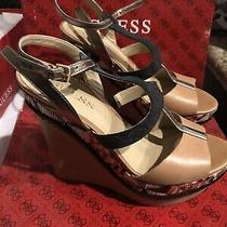 Guess Womens Shoes Diastol Wedges Sandals Brown Multi Size 7 M Photo