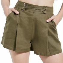 Guess Women's Shorts Olive Green Size 8 Pleated Front Lace-Up Nydia 69 220 Photo