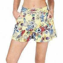 Guess Women's Shorts Yellow Size 8 Floral Printed Strappy Linen Pleated 69 557 Photo