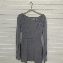 Guess Womens Size L Mandy v-Neck Beaded Long Sleeve Gray Sweater Dress Photo