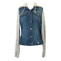 Guess Women's Size Medium Hooded Denim & Knit Jean Jacket Hoodie Blue Gray New Photo