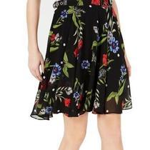 Guess Women's Skirt Black Size 26 Floral Print Buckle Grace a-Line 69 885 Photo