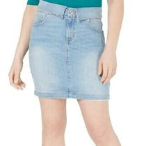 Guess Women's Skirt Blue Size Xs Denim Fold Over Straight Pencil 79 438 Photo
