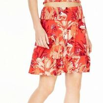 Guess Women's Skirt Red Size Large L a-Line Smocked Tropical Print 69 110 Photo