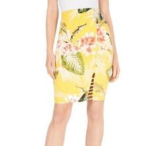 Guess Women's Skirt Sunny Yellow Size Xl Stretch Knit Tropical Print 49 468 Photo