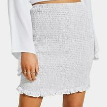 Guess Women's Skirt White Size Xs Stretch Knit Smocked Ruffle Trim 69 263 Photo