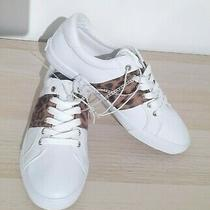 Guess Women's Sneakers White With Animal Leopard Print Details Sz 8.5 Photo