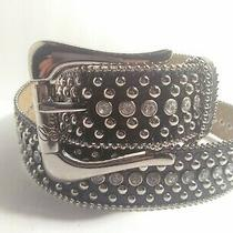 Guess Women's Studded Rhinestone Black Faux Patent Croc Embossed Belt 39