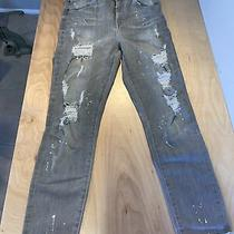Guess Womens Super High Rise Splatter Destroyed Skinny Jeans Gray Size 27 Photo
